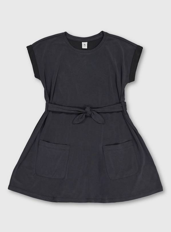 Graphite Grey Cupro Dress With Belt & Pockets - 5 years