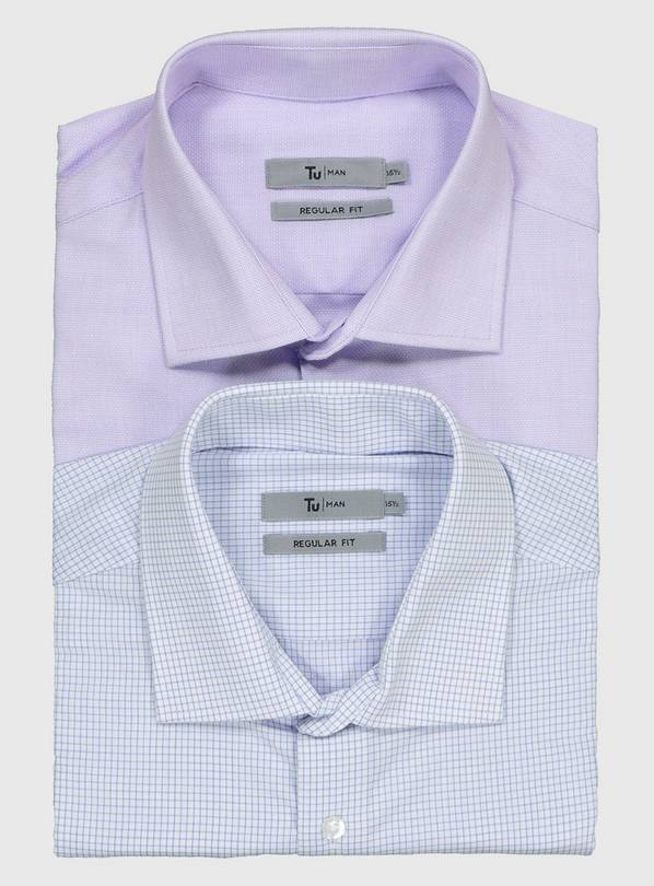 Lilac & Blue Oxford Regular Fit Long Sleeve Shirts 2 Pack -