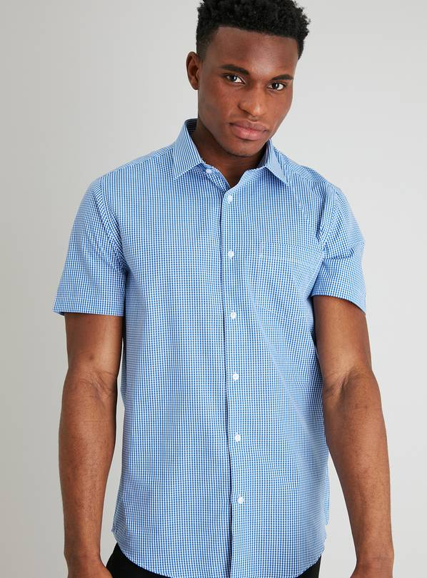 Blue Gingham Check Regular Fit Easy Iron Shirt - 21