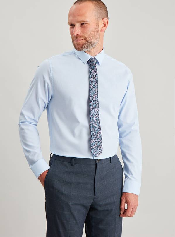 Blue Slim Fit Oxford Shirt & Floral Tie Set - 18