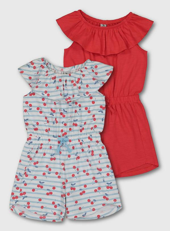Cherry Print & Red Jersey Playsuit 2 Pack - 1-1.5 years