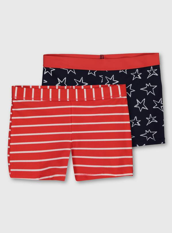 Red Stripe & Star Print Swim Shorts 2 Pack - 8 years