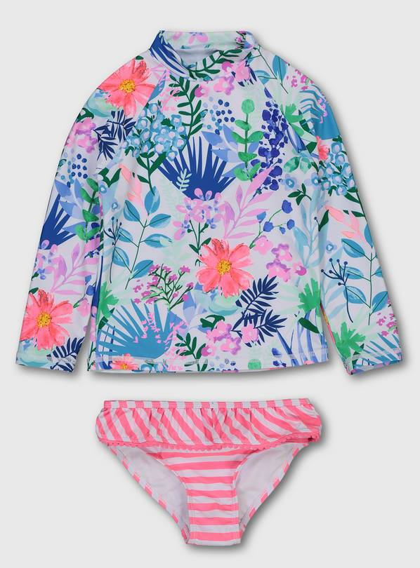 Tropical Rash Vest & Stripe Bikini Briefs - 6 years