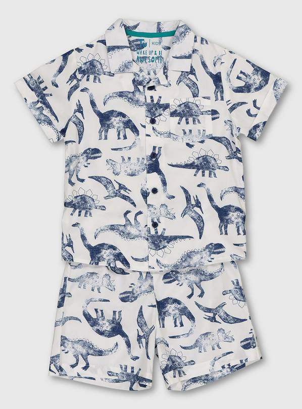 White Dinosaur Print Woven Shortie Pyjamas - 1.5-2 years