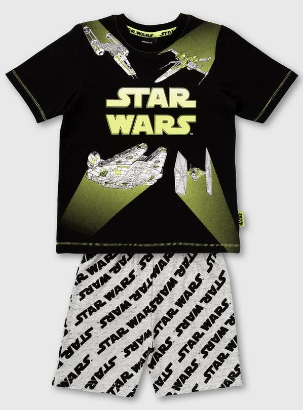Star Wars Black Spacecraft Shortie Pyjamas - 5-6 years