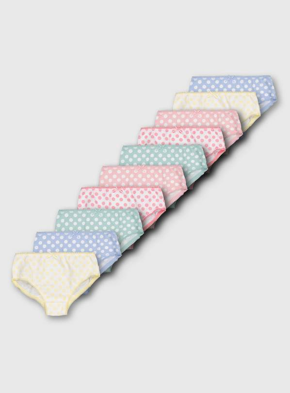 Pastel Polka Dot Briefs 10 Pack - 3-4 years