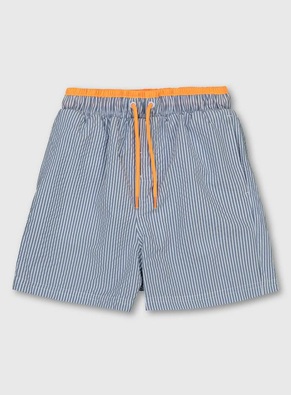 Family Dressing Seersucker Stripe Swim Shorts - 10 years