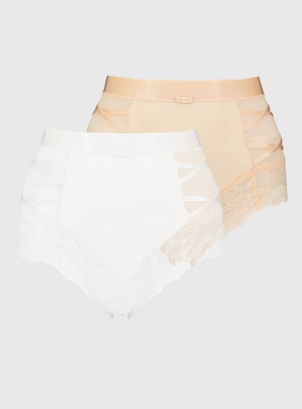 Secret Shaping Ivory Criss-Cross Lace Trim Knickers 2 Pack -