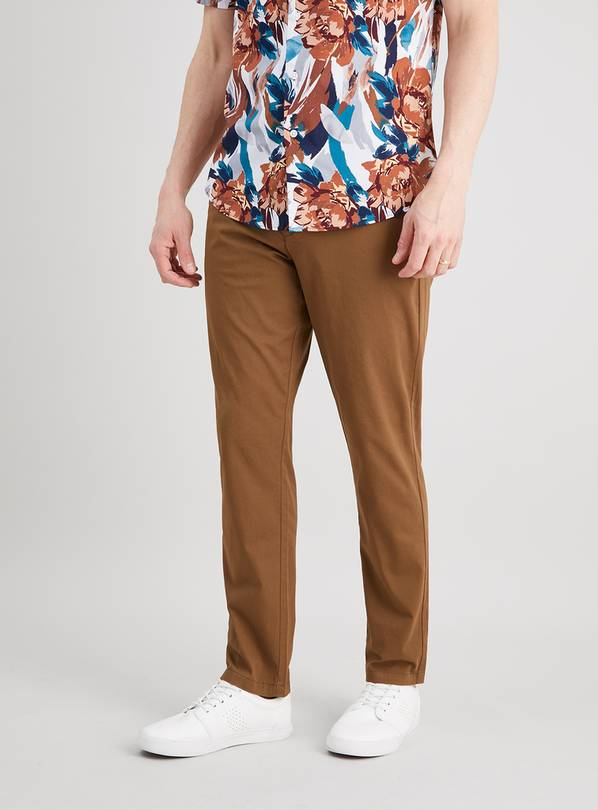 Brown Belted Slim Fit Chinos With Stretch - W34 L34