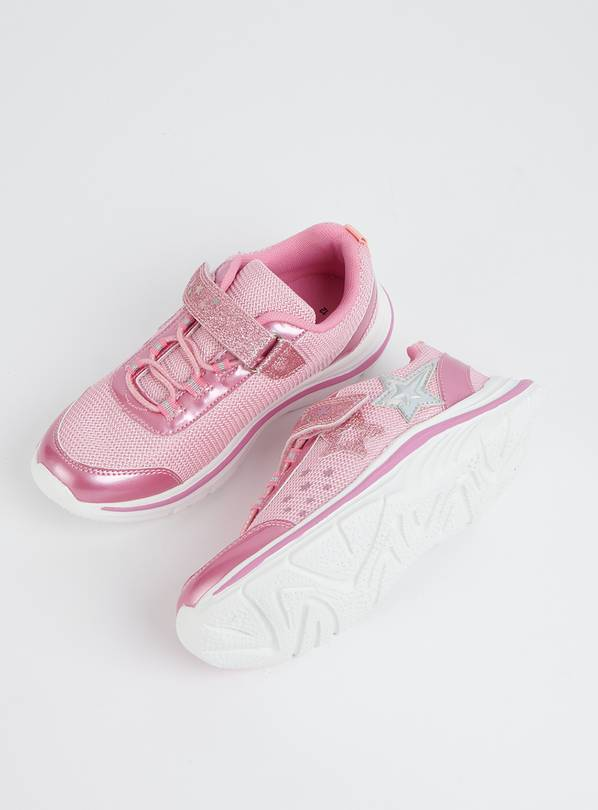 Pink Glitter Sparkle Trainers With White Sole - 6 Infant