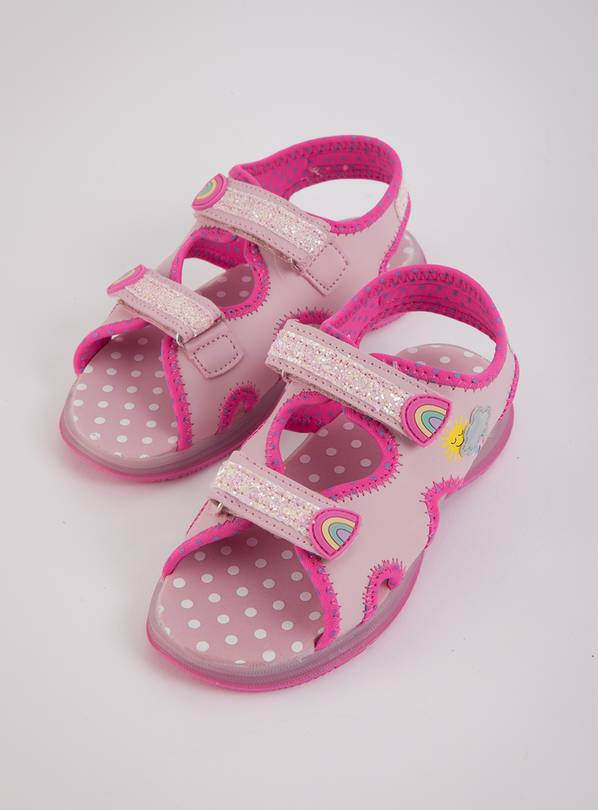 Pink Glittery Light Up Adventure Sandals - 5 Infant