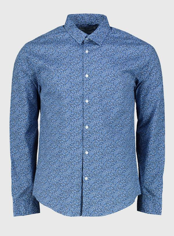 Blue Chambray Regular Fit Ditsy Floral Print Shirt - L