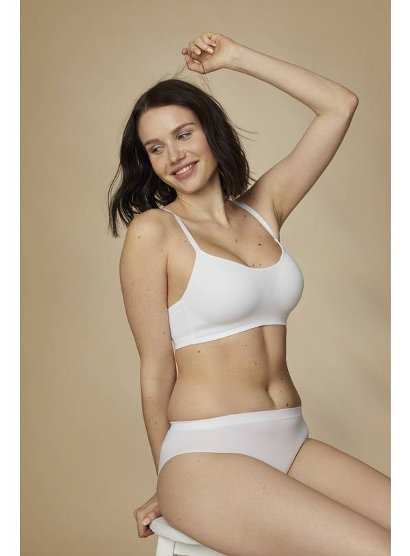 White Scoop Neck Bra - 36D