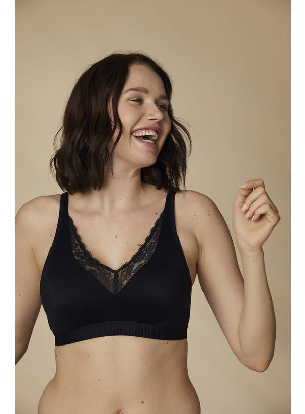 Black Dual Mould Lace Trim Lounge Bra - 40C