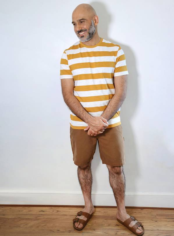 Yellow & White Stripe Crew Neck T-Shirt - XXXXL