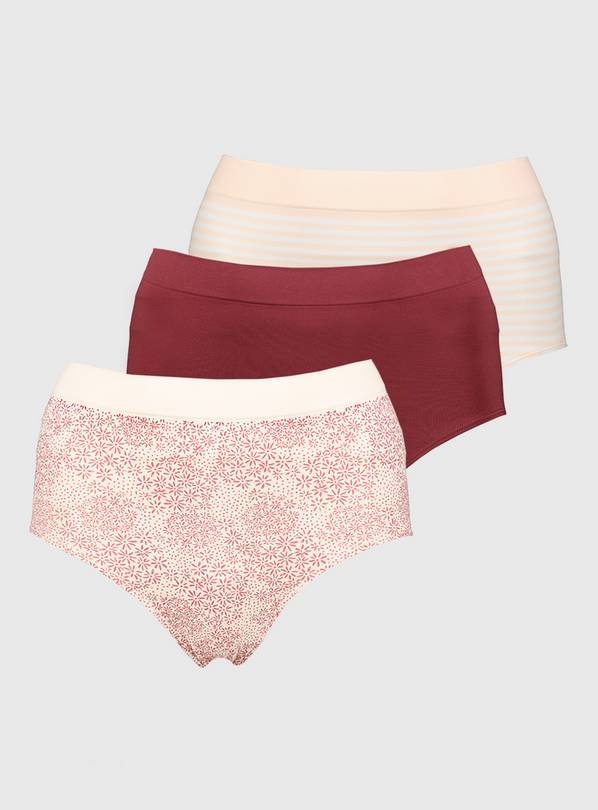 Pink & Burgundy Seamless Full Knickers 3 Pack - XXL