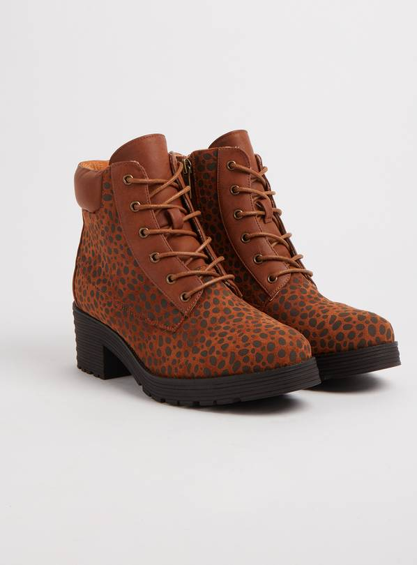 SPOT ON Brown Animal Print Lace Up Boots - 6