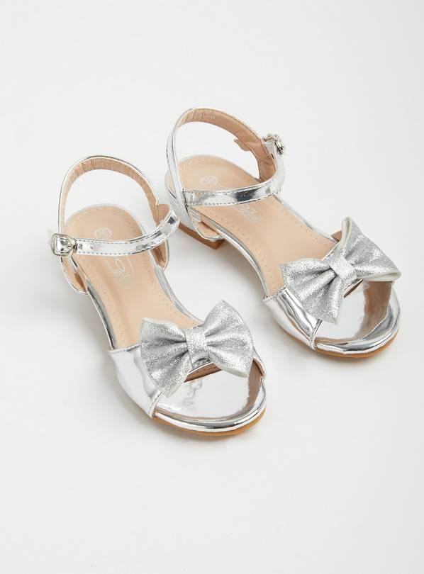 SPOT ON Silver Bow Open Toe Sandals - 10 Infant