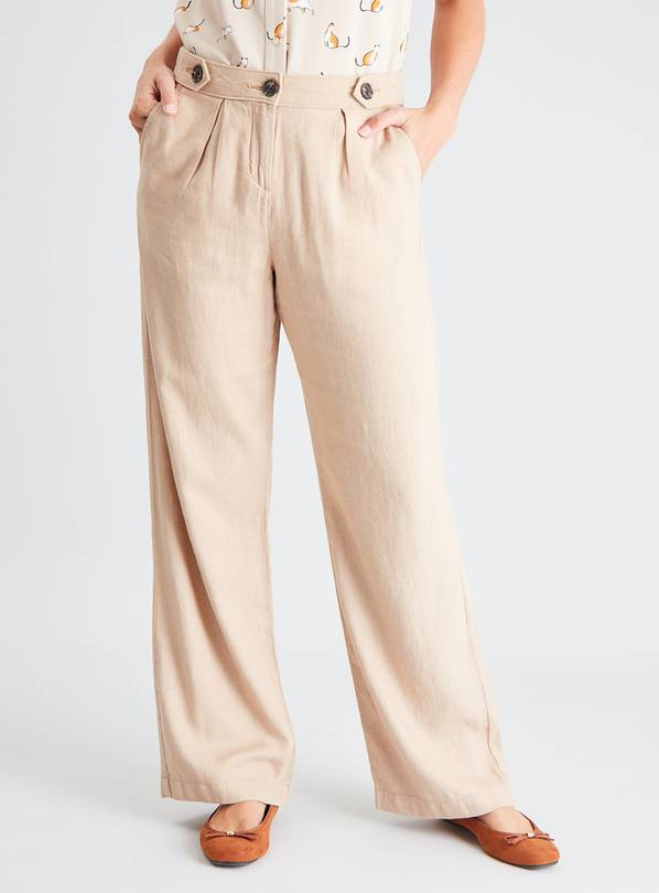 Stone Linen-Rich Wide Leg Trousers - 20