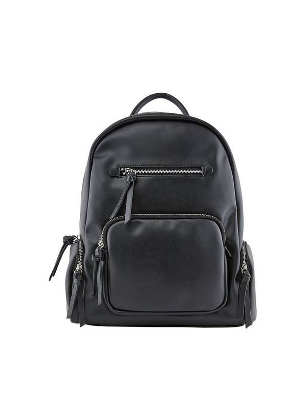 PIECES Black Faux Leather Backpack - One Size