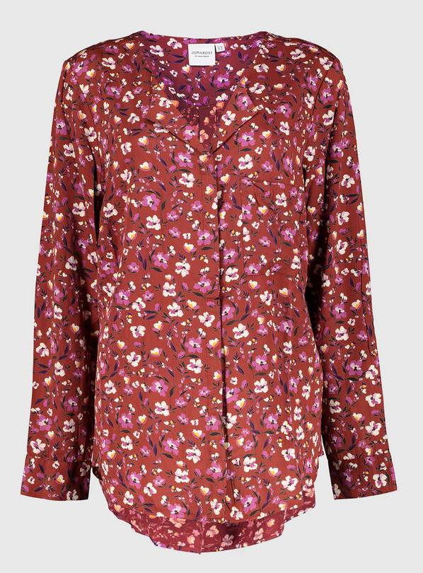 Dark Red Floral Print Shirt - 20