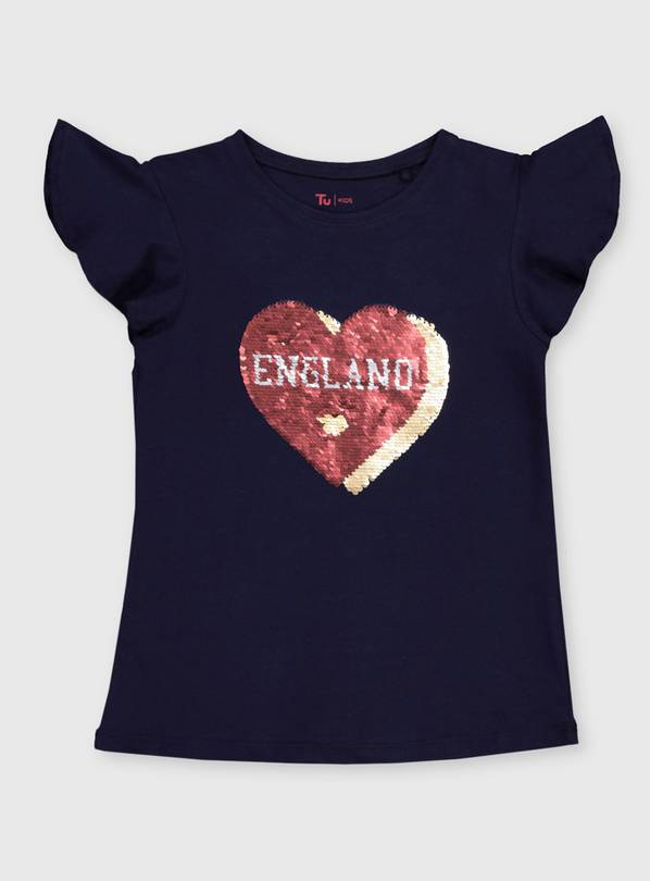 Navy 'England' Heart Sequin Top - 5 years