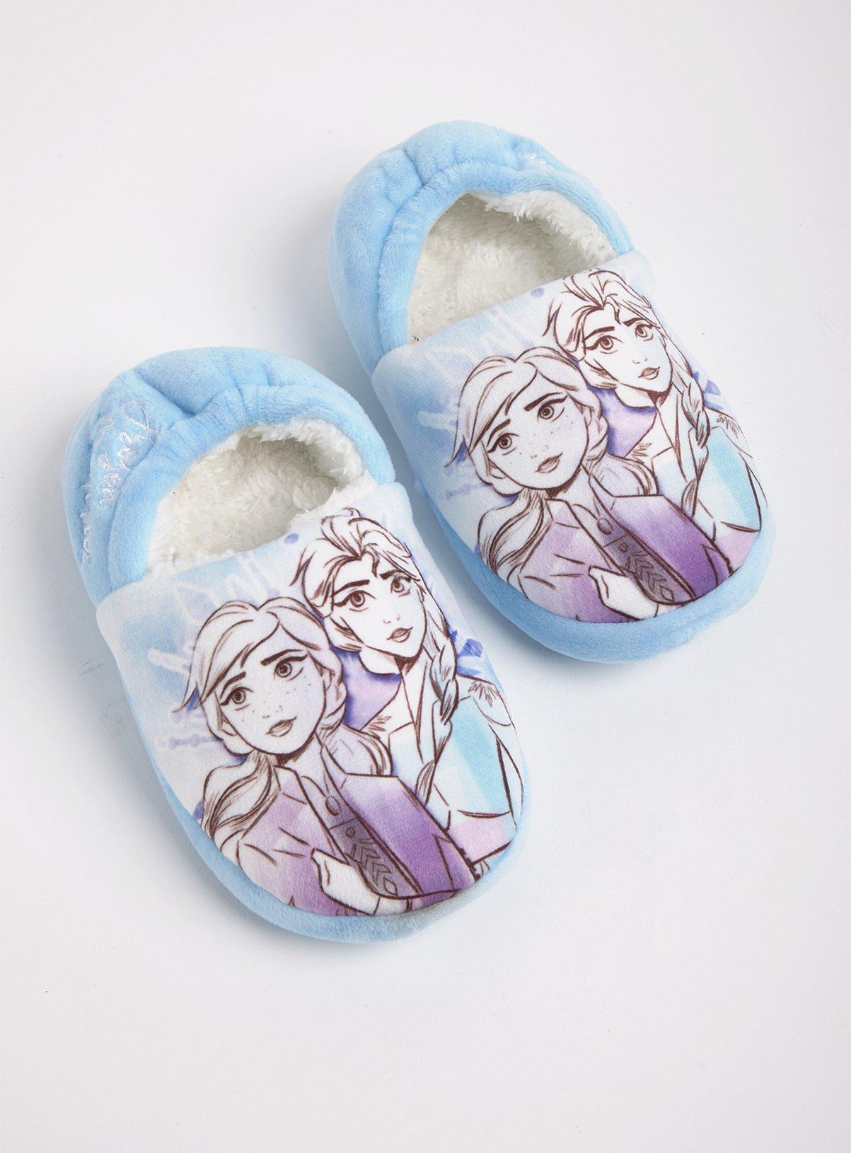 Official Disney Frozen Anna Elsa Infant Kids Full Slippers Shoes Fleece Soft