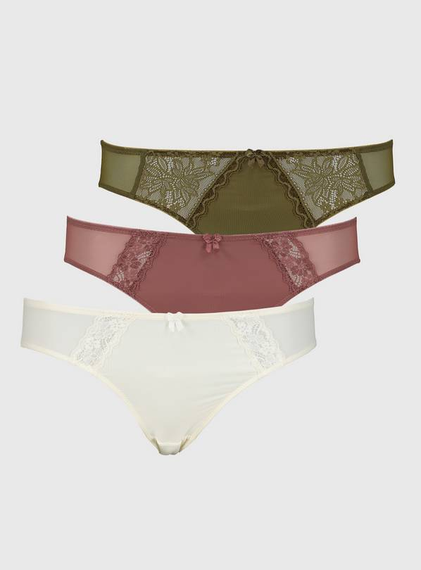 Lace Trim High Leg Knickers 3 Pack - 14