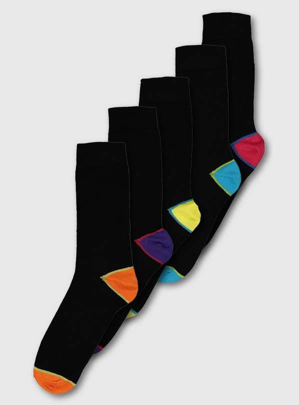 Navy Two Tone Brights Stay Fresh Socks 5 Pack - 12-14