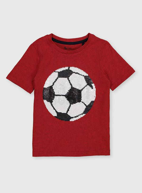 Red Reversible Sequin Football T-Shirt - 4-5 years