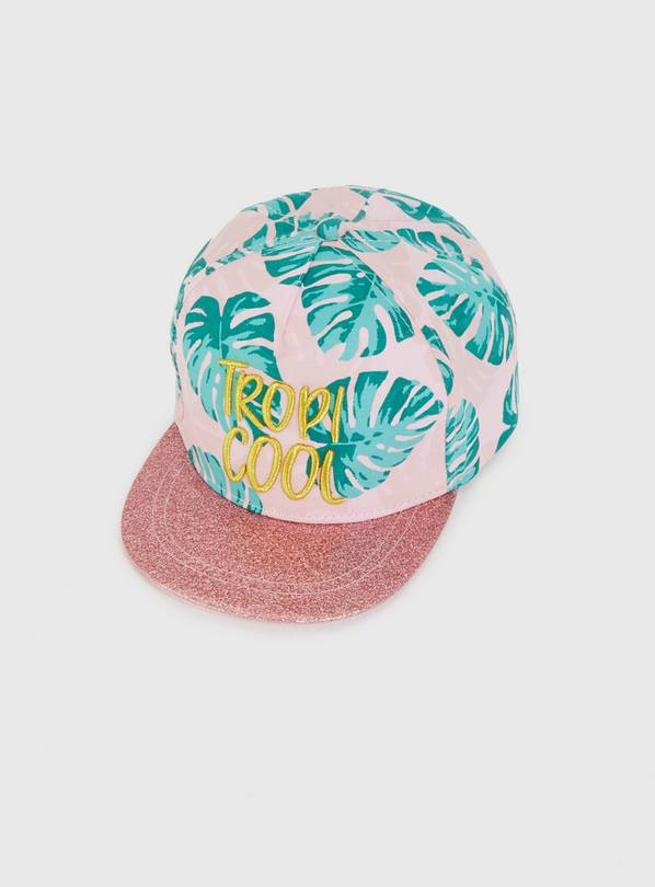 Pink Palm Print 'Tropi Cool' Cap - 6-9 years
