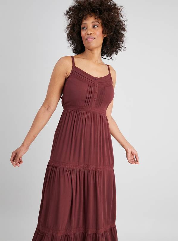 Brown Tiered Maxi Dress - 8