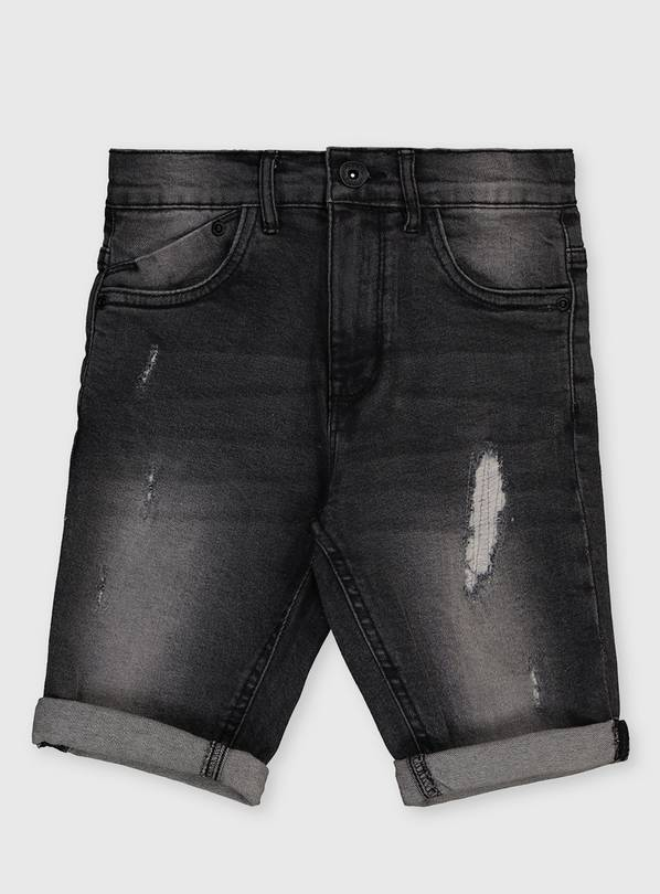 Grey Distressed Denim Shorts - 3 years