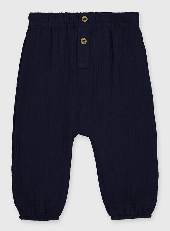 Navy Gauze Cheesecloth Trousers - 3-6 months