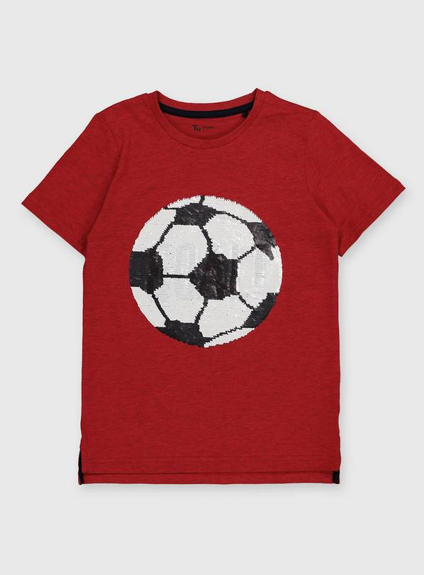 Red Sequin Football T-Shirt - 10 years