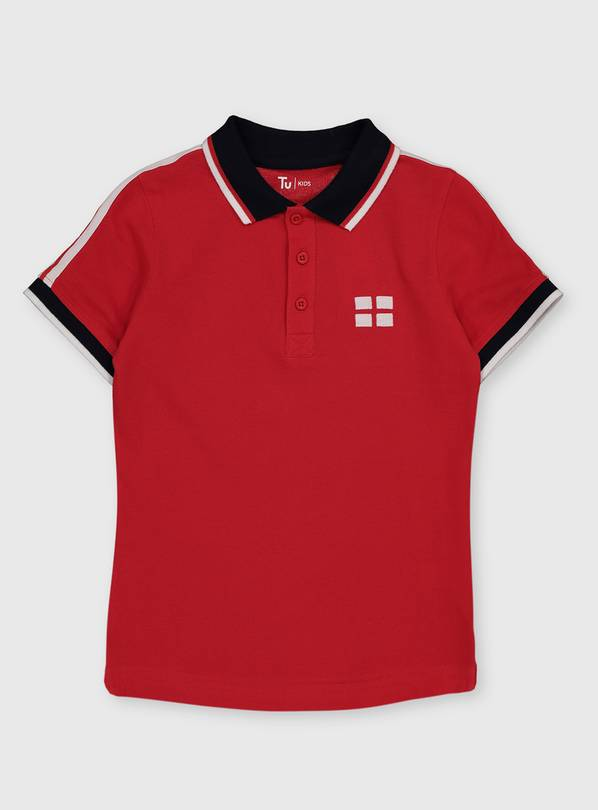 Red England Euros Football Polo Shirt - 6 years