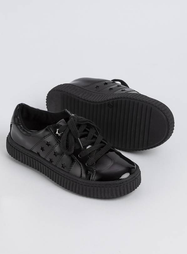 Black Faux Patent Creeper Lace Up Shoes - 2