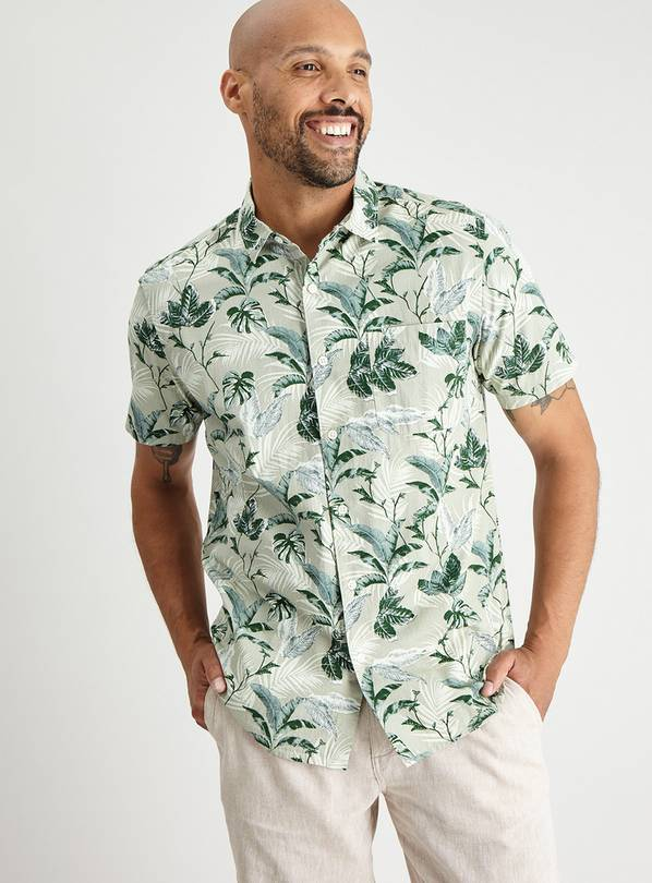 Green Leaf Print Regular Fit Shirt - XL