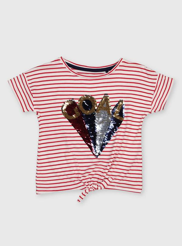 Red Stripe Sequin 'GOAL' T-Shirt - 4 years