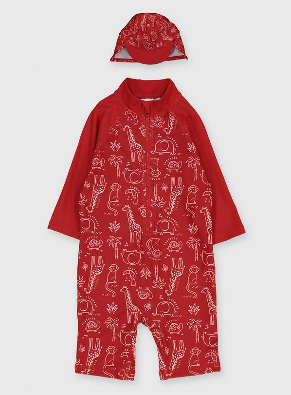 Red Safari Animal Print Sunsuit & Sun Hat - 18-24 months