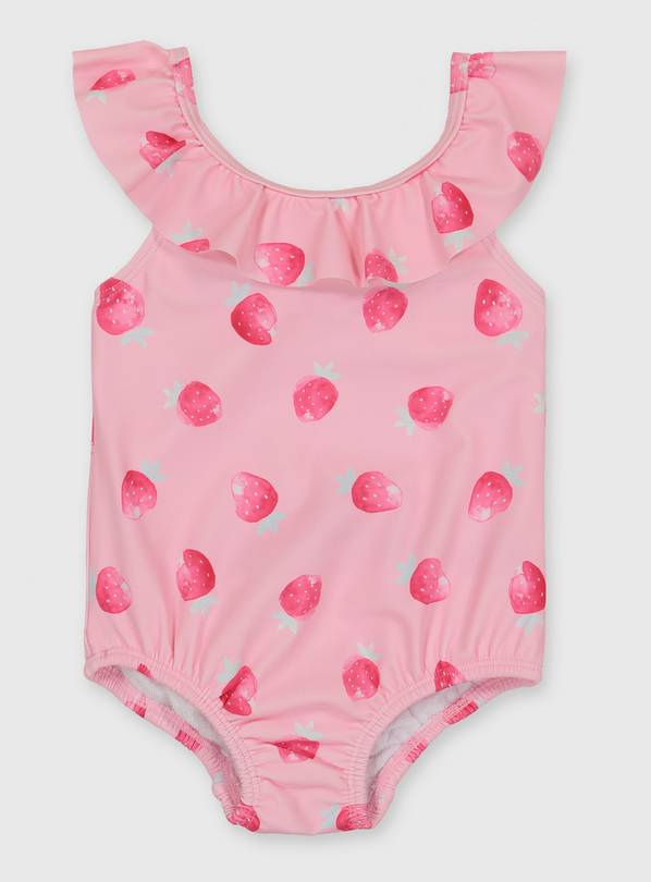 Pink Strawberry Print Frill Swimsuit - 12-18 months