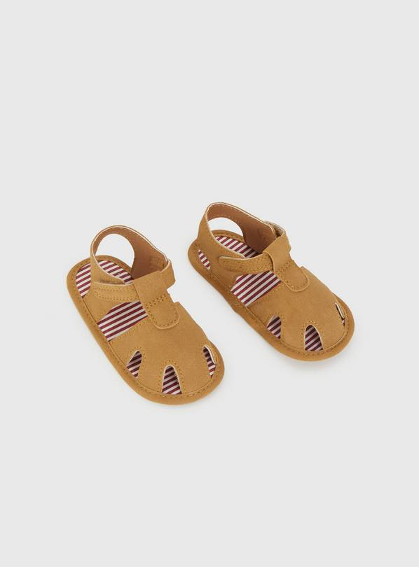 Tan Faux Leather Sandals - 12-18 months