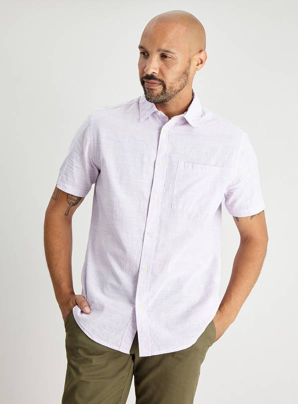 Lilac Textured Regular Fit Short Sleeve Shirt - L