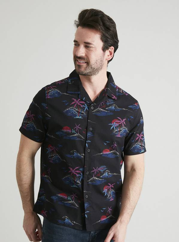 Tropical Neon Print Regular Fit Shirt - M