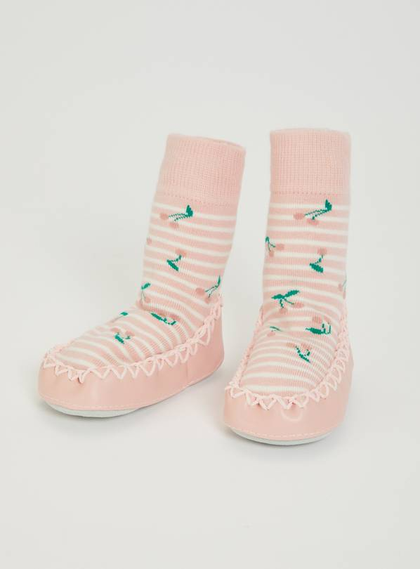 Pink Cherry Moccasin Slipper Socks - 3-6 months
