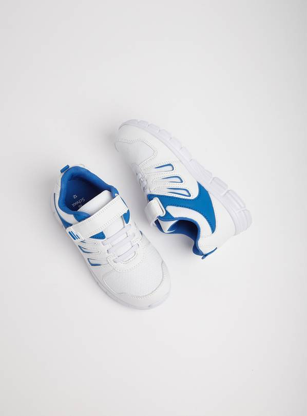 White & Blue School Trainers - 10 Infant
