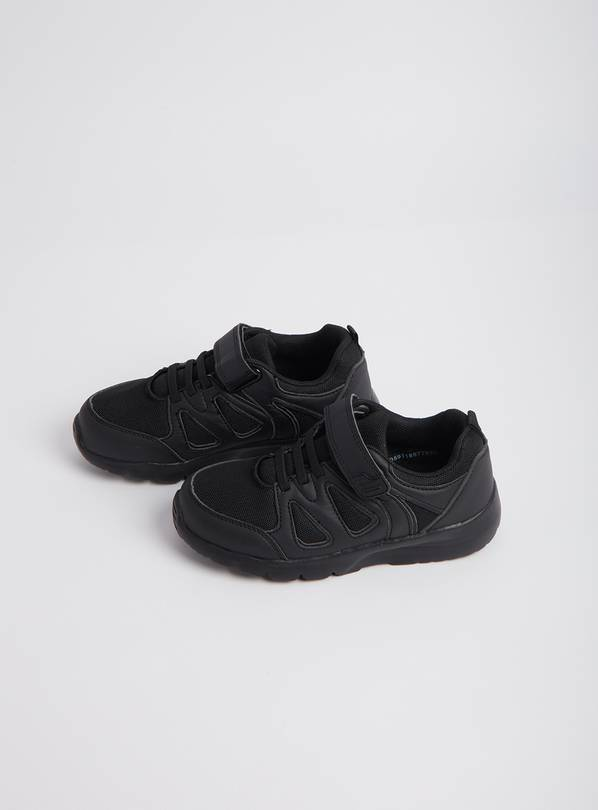 Black Chunky Sole School Trainers - 1