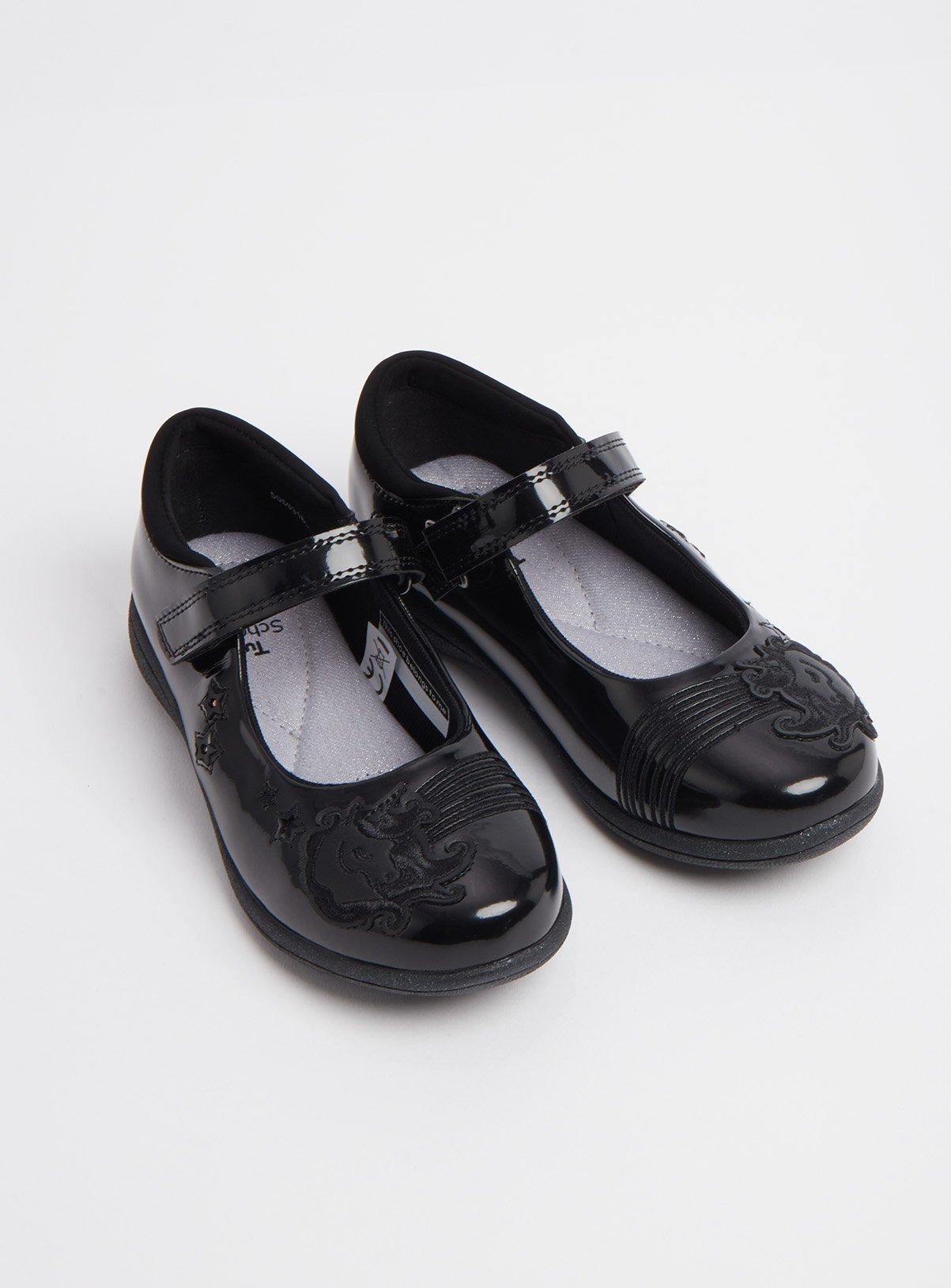 Black Unicorn Light Up Wide Fit School Shoes - 8 Infant