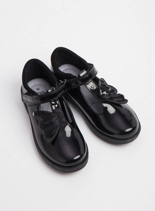 Black Patent Butterfly T-Bar School Shoes - 8 Infant