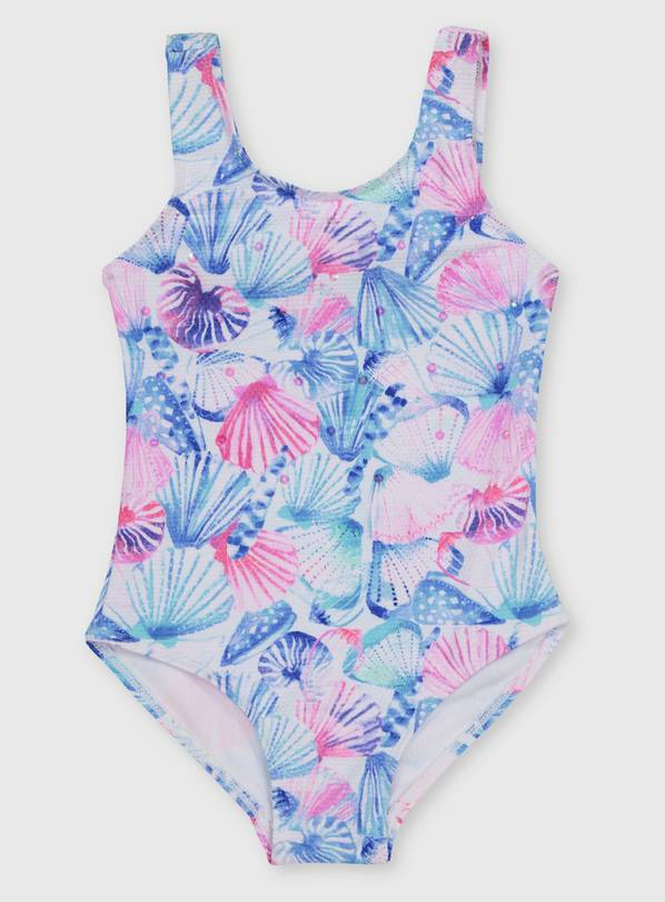 Pink & Blue Shell Swimsuit - 10 years